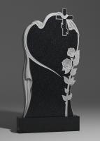 Памятник Сердце с крестом и розой