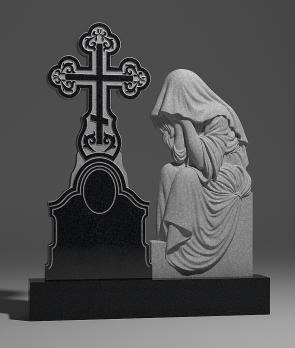 Памятник Скорбящая с большим крестом