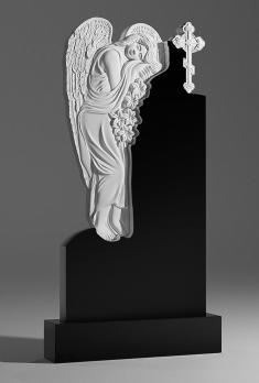 Памятник Ангел с цветами и крестом